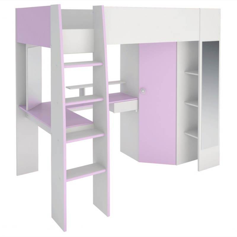 lit combin sur lev fille 1 personne style romantique. Black Bedroom Furniture Sets. Home Design Ideas
