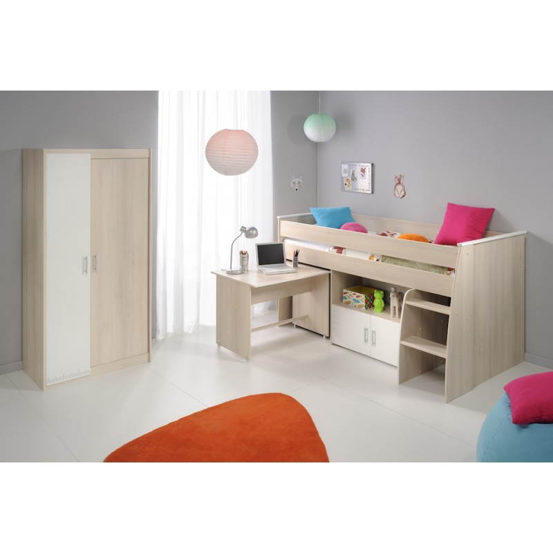 lit combin sur lev design 90x200 cm junior fille gar on alex blanc beige fr ne. Black Bedroom Furniture Sets. Home Design Ideas