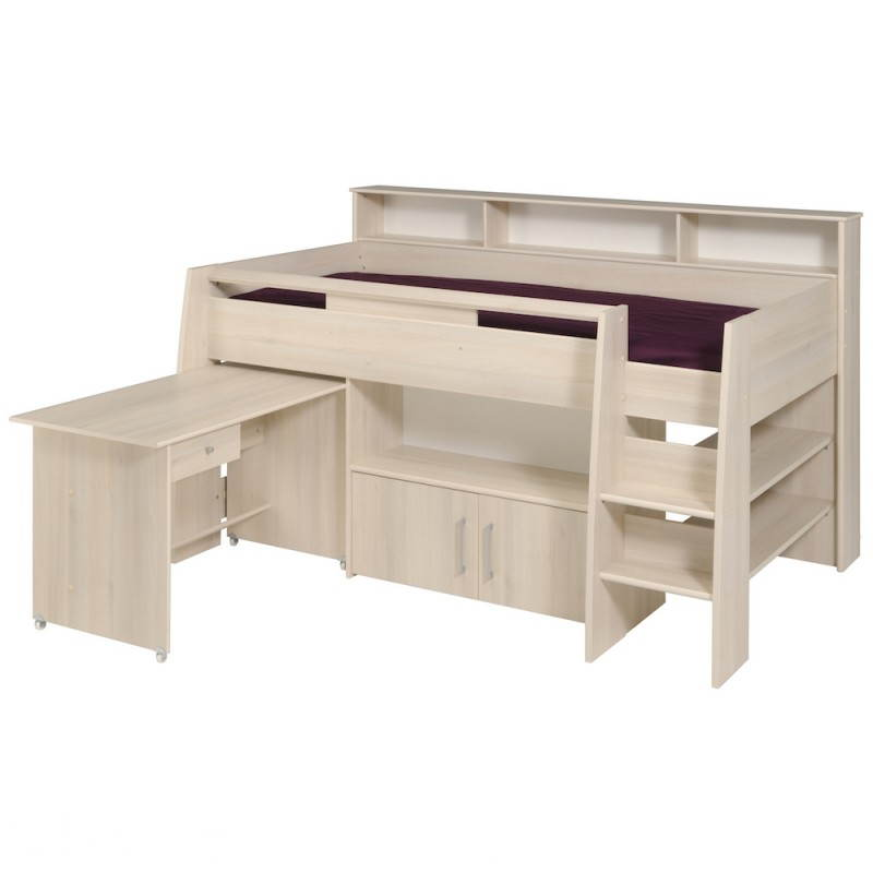 lit sur lev combin avec bureau junior fille gar on design sacha beige acacia clair