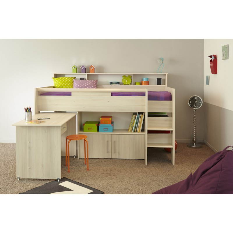 lit sur lev combin avec bureau junior fille gar on. Black Bedroom Furniture Sets. Home Design Ideas