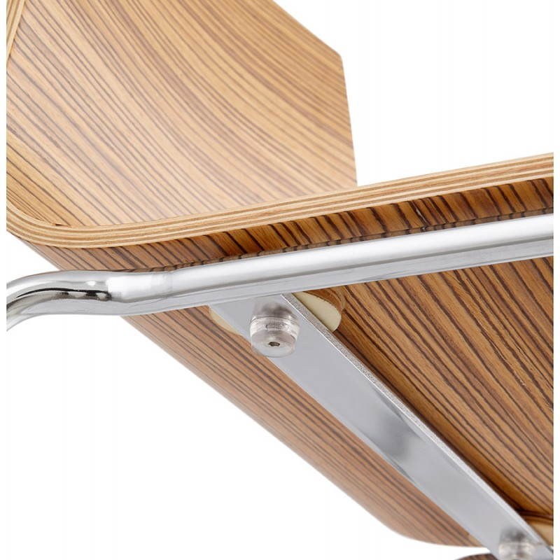 tabouret de bar design saone mini en bois et m tal chrom. Black Bedroom Furniture Sets. Home Design Ideas