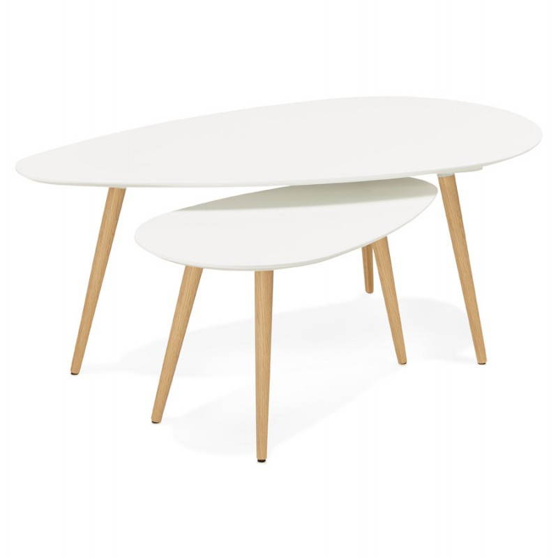 Tables basses design ovales gigognes golda en bois et - Table basse bois et blanc ...