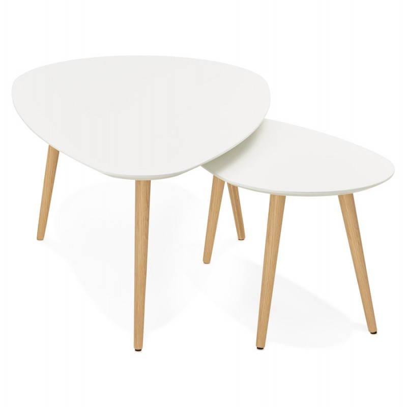Tables basses design ovales gigognes golda en bois et ch ne massif blanc - Table basse gigogne design ...