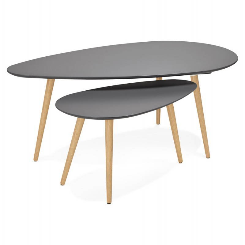 Tables basses design ovales gigognes golda en bois et - Table basse gigogne design ...