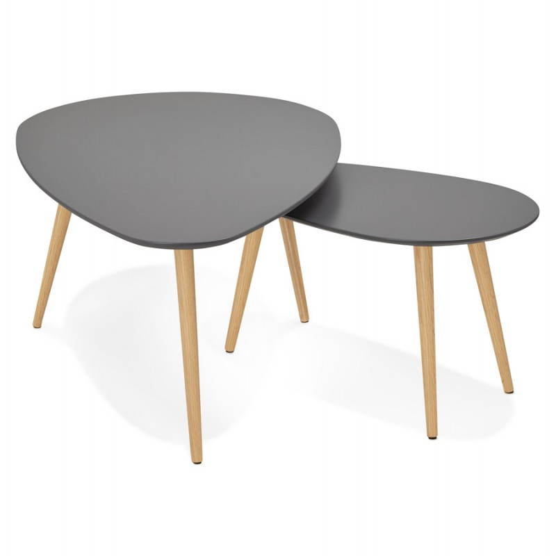 Tables basses design ovales gigognes golda en bois et for 2 tables basses gigognes