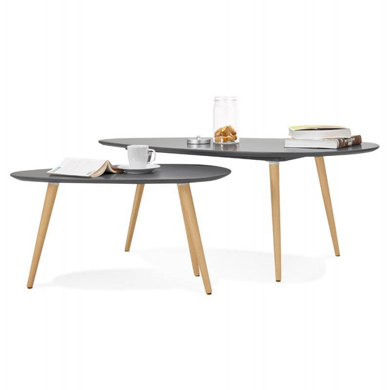 Tables basses design ovales gigognes golda en bois et - Table basse en bois massif design ...