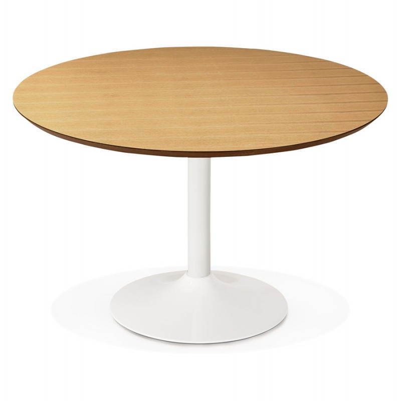 Dining table round design scandinavian stripe in wood and - Table ronde 120 cm ...