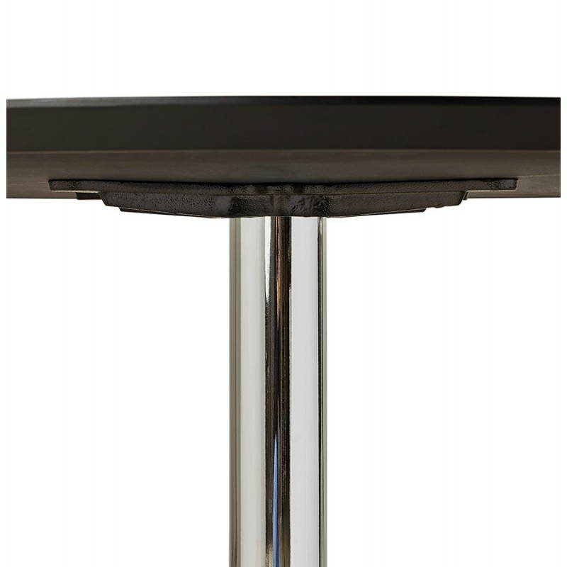 Round design dining stripe in wood and chrome metal 120 cm table black chrome metal for Table carree 120 cm