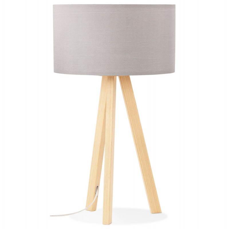 lampe de table trani mini sur tr pied avec abat jour gris. Black Bedroom Furniture Sets. Home Design Ideas